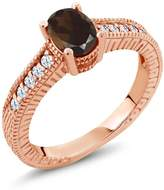 Gem Stone King 1.15 Ct Oval Brown Smoky Quartz White Topaz 14K Rose Gold Engagement Ring