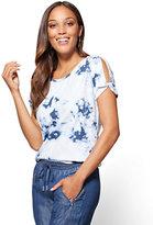 New York & Co. Open-Shoulder Sweatshirt- Tie-Dye