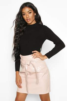 boohoo Leather Look Pu Tie Waist Mini Skirt