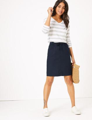 Marks and Spencer Linen Knee Length A-Line Skirt