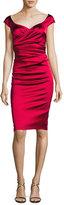 Talbot Runhof Kortney Satin Cap-Sleeve Dress, Scarlet