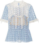 Self-Portrait Guipure Lace Top - Sky blue