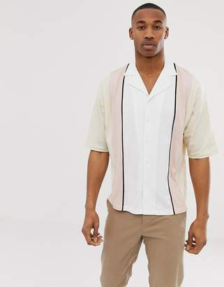 Asos Design DESIGN oversized button through revere polo shirt with half sleeve in vertical color block-Beige