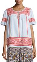 Calypso St. Barth Vinduri Short-Sleeve Embroidered Top, Coconut