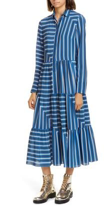 Akris Punto Square Stripe Print Silk Long Sleeve Maxi Dress