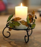 Novica Leaf And Tree Recycled Glass and Metal Candle Holder, Earthtone, 'Ivy Revival' (Pair)