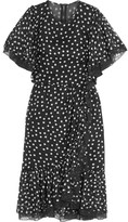 Dolce & Gabbana Lace-trimmed Polka-dot Silk-blend Chiffon Dress - Black