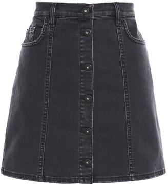 McQ Button-detailed Distressed Denim Mini Skirt
