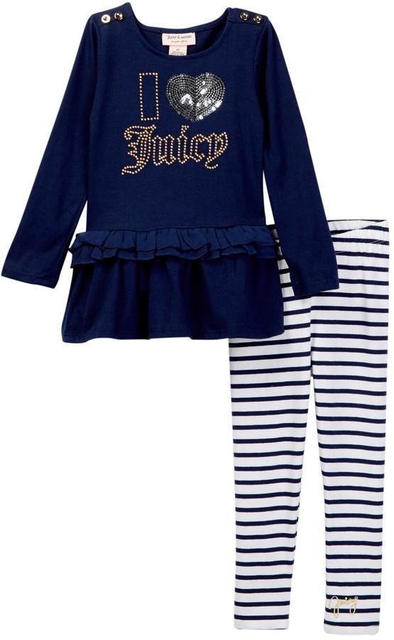 Juicy Couture I Heart Juicy Applique Ruffle Bottom Tunic & Striped Legging Set (Little Girls)