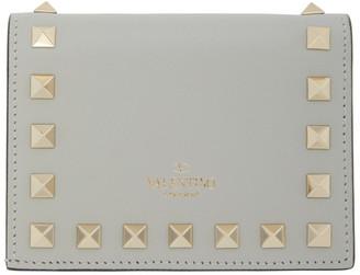 Valentino Grey Garavani Rockstud Flat French Wallet