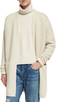 Vince Honeycomb-Knit Long Cardigan, Winter White