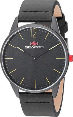Seapro Men's Black Hole Stainless Steel Quartz Leather Calfskin Strap 20 Casual Watch (Model: SP0102)