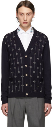 Gucci Blue Interlocking G Stripe Cardigan