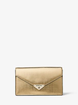 MICHAEL Michael Kors MK Grace Medium Metallic Leather Envelope Clutch - Pale Gold - Michael Kors
