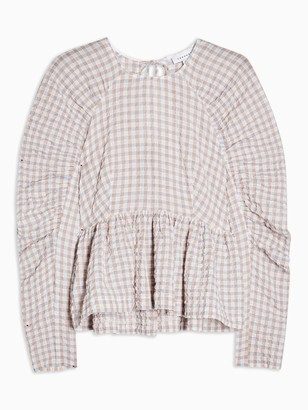 Topshop Gather Sleeve Gingham Top - Lilac