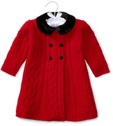 Ralph Lauren Double-Breasted Cable-Knit Stretch Wool Coat, Red, Size 3-24 Months