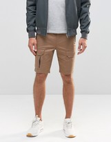 Asos Skinny Cargo Shorts with Zips In Light Brown