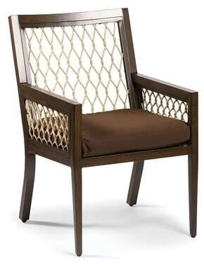 Eddie Bauer Echo Bay Teak Patio Dining Chair with Cushion Frame Color: Mahogany, Cushion Color: Cast Slate