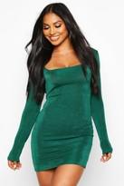 boohoo Slinky Square Neck Long Sleeve Mini Dress
