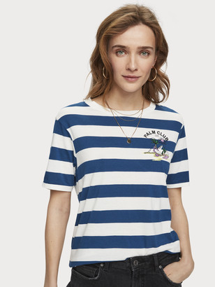 Scotch & Soda Striped Artwork T-Shirt | Women