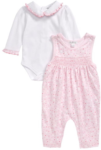 Kissy Kissy Heart Print Smocked Jumpsuit & Long Sleeve Bodysuit Set