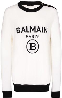 Balmain Button Detail Logo Intarsia Jumper