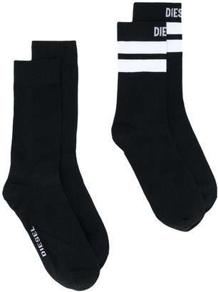 Diesel Two Pack Logo Socks