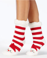Charter Club Women's Santa Striped Slipper Socks with Fleece and Grippers, Created for Macy's