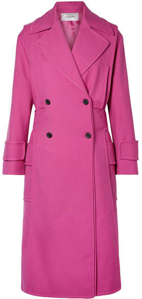 Valentino Double-breasted Wool-blend Twill Coat - Magenta