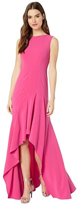 Halston Boatneck Crepe Gown (Azalea) Women's Dress