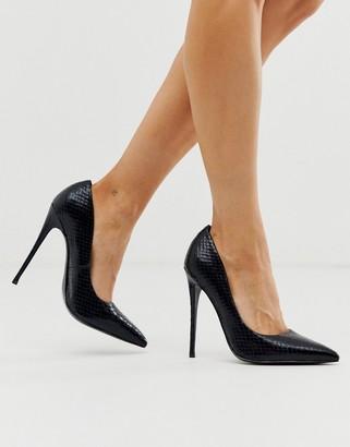 Asos Design DESIGN Penelope stiletto court shoes in black snake
