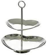 Parlane Pretty Silver Heart Two Tier Cake Stand