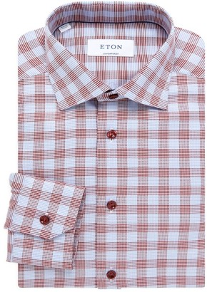Eton Contemporary-Fit Prince Of Wales Check Gingham Dress Shirt
