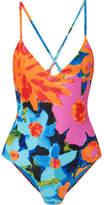Mara Hoffman Emma Floral-print Swimsuit - Blue