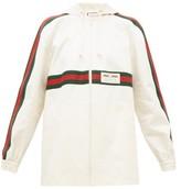 Gucci Web-striped Back-pleat Cotton Jacket - Womens - Ivory Multi