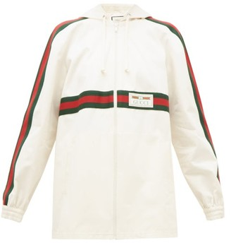 Gucci Web-striped Back-pleat Cotton Jacket - Womens - Ivory Multi