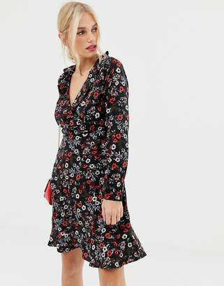 Yumi long sleeve ditsy print frill wrap dress-Black