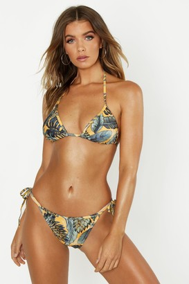 boohoo Mix & Match Palm Print Tie Side Brief
