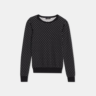 Theory Regal Wool Mini Polka Dot Crewneck Sweater