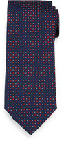 Brioni Circle-Dot Patterned Neat Silk Tie, Navy