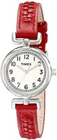 Timex Women's T2N661 Weekender Petite Silver-Tone Watch with Red Leather Band