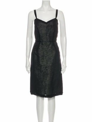 Lanvin Silk Knee-Length Dress w/ Tags Black