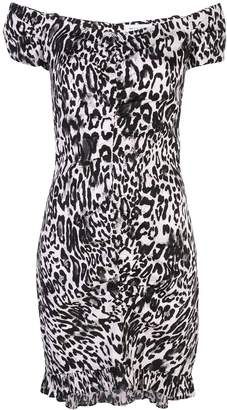 Milly ruched leopard print dress