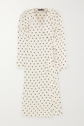 Rotate by Birger Christensen Bridget Polka-dot Satin-jacquard Wrap Midi Dress - White