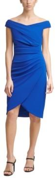 Calvin Klein Off-The-Shoulder Ruched Scuba-Crepe Sheath Dress