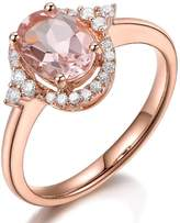 Kardy 2015 Christmas Gifts Presents Prime Sale Deals Morganite Gemstone Fashion Solid 14K Rose Gold Engagement Wedding Real Pave Diamond Band Ring for Women