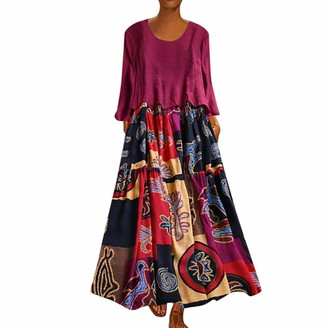 Lazzboy Women Maxi Dresses Ethnic Print Plus Size Sleeveless V-Neck Flowy Hem Boho Ladies Long Dress Oversized(XL(14)