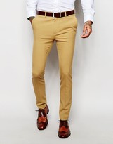 Asos Super Skinny Suit Pants In Camel