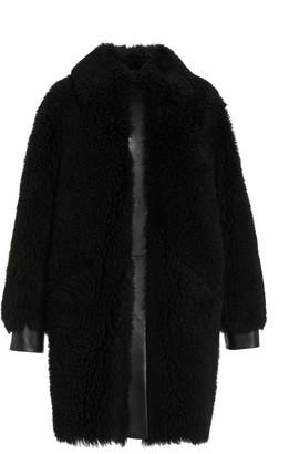 Common Leisure Women's Moon Leather-Trimmed Shearling Coat - Black - Moda Operandi