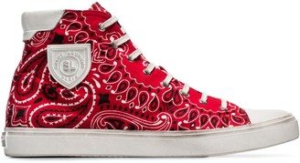 Saint Laurent red bandana print cotton high-top sneakers